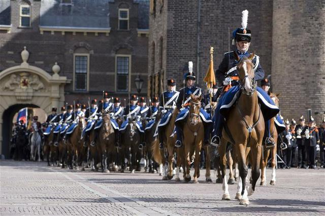 The RNLM Mounted Brigade at the Dutch Parliament in The Hague.