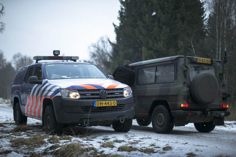 On the left: a vehicle of the Royal Netherlands Marechaussee.