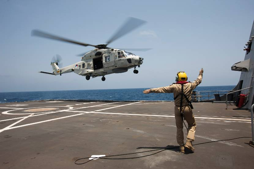 NH90 maritime helicopter in action during anti-piracy mission Ocean Shield, May 2014.