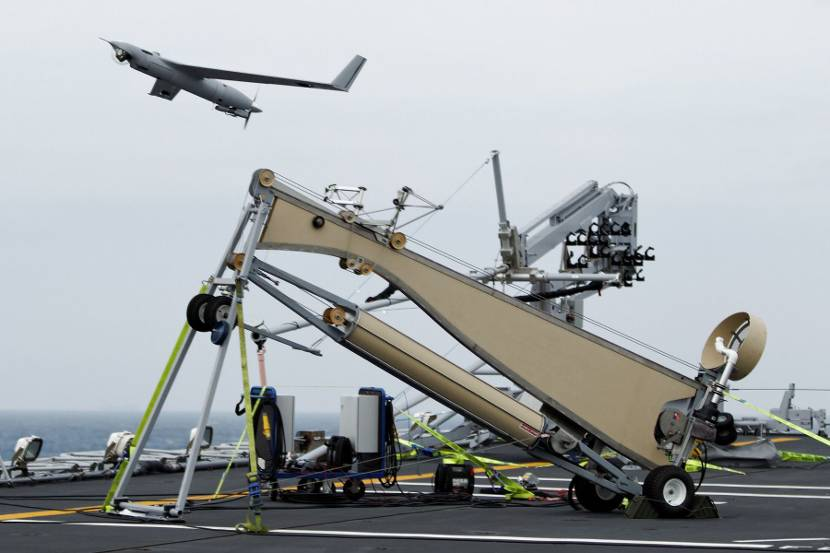 ScanEagle being launched from HNLMS Rotterdam. Photo: Netherlands Ministry of Defence.