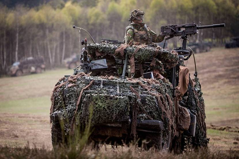 Infantryman behind an automatic grenade launcher (40mm) on a Mercedes Benz all-terrain vehicle during an exercise on the French training ground La Courtine, 2015.