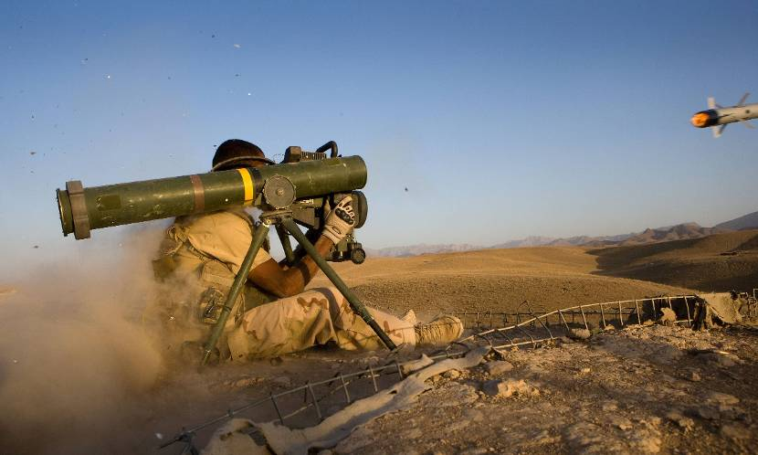 A Gill anti-tank rocket is being fired at the heavy weapons range at Camp Holland, Afghanistan 2009.