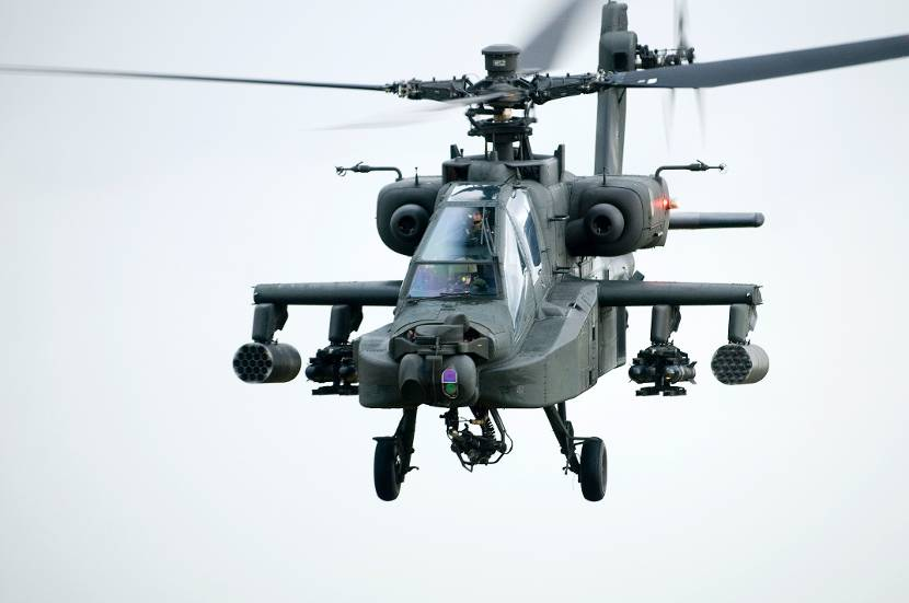 An Apache AH64D attack helicopter is equipped with Hellfire heavy anti-armour rockets, Hydra 70mm rockets and a Hughes M239 30mm chain gun.