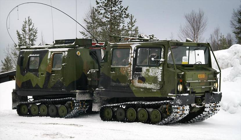 Band Vagn (BV) 206 articulated tracked vehicle.