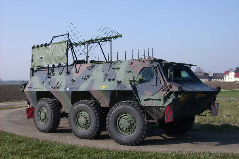 Fuchs armoured vehicle (EW - electronical warfare). For the time being there also is an NBC-version (nuclear, biological, chemical) in use.