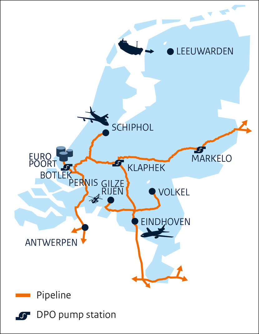 Map of the Netherlands with the DPO pipeline network.