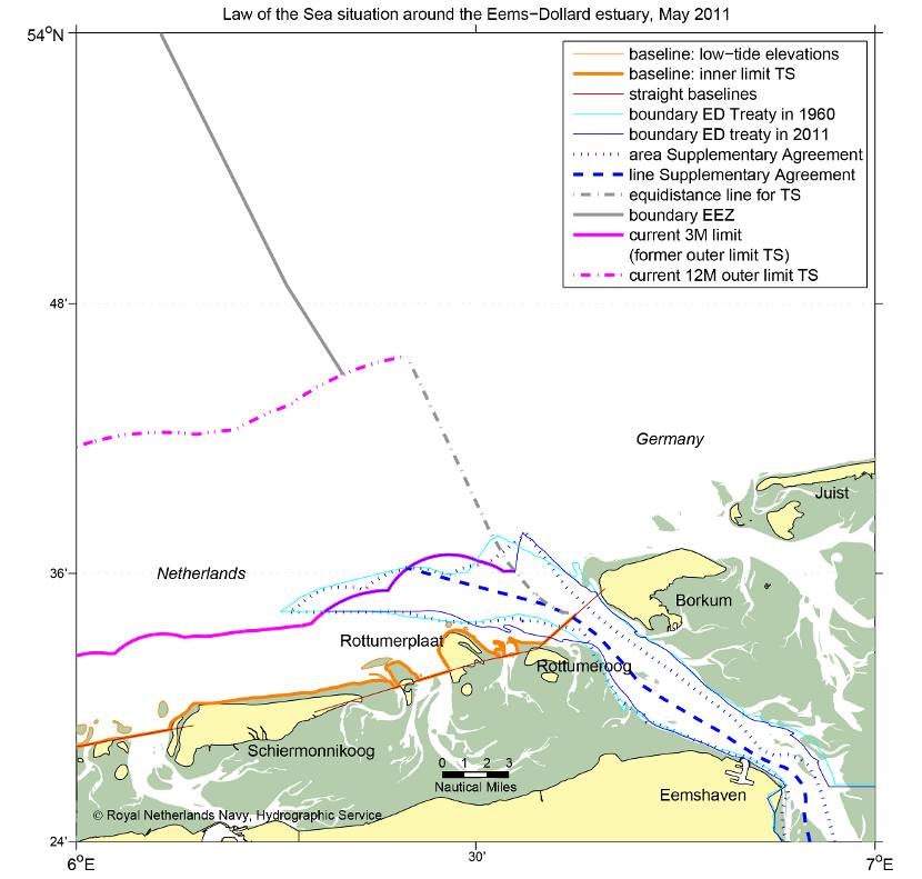 Chart with Law of the Sea situation around the Eems−Dollard estuary.