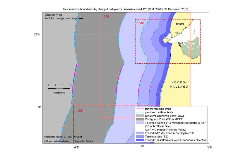 Changes limits of maritime zones after changed bathymetry on nautical chart 126.