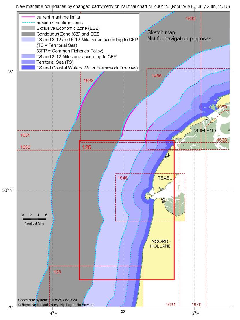 Changes limits of maritime zones after changed bathymetry on nautical chart NL400126.