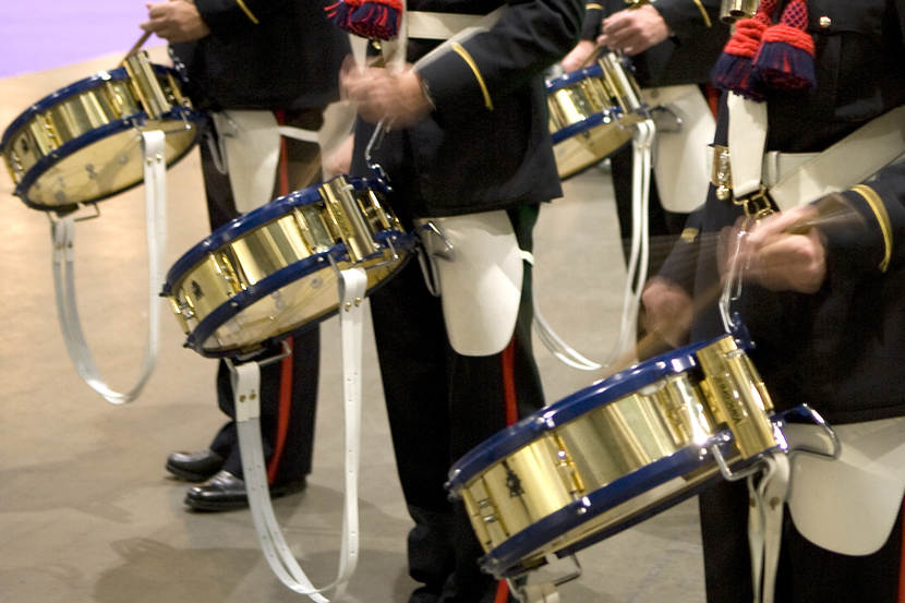 The drums of The Marine Band.