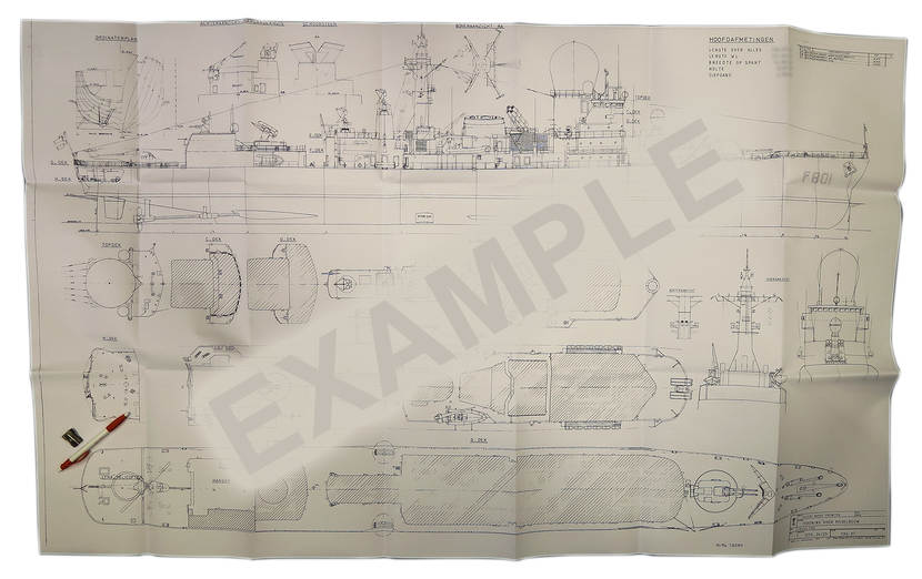 This example of a drawing for model building is of HNLMS Tromp and is 84 by 140 centimetres.